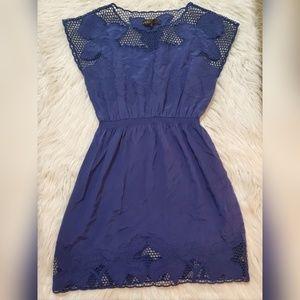 Akiko Blue Silk Floral Lace Dress Sz Large